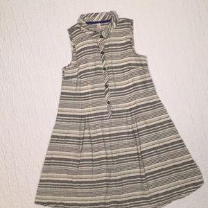 Cream + Blue Sleeveless Shift Dress